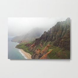Wild Tropical Mountain Beach Metal Print
