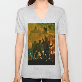 From Slavery thru Reconstruction photograph of the 135th St. WPA Public Mural NY Public Library  Unisex V-Neck