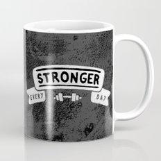 Stronger Every Day (dumbbell, black & white) Mug