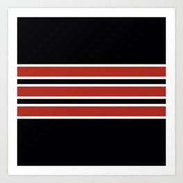 70s Style Black Red White Retro Stripes Xipe Art Print
