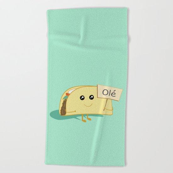 Happy Taco, Olé Beach Towel
