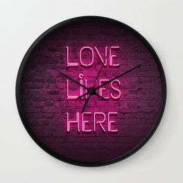 Love Lives Here (Magenta) Wall Clock