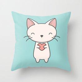 Kawaii Cute Cat With Heart Throw Pillow
