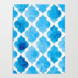 Watercolor quatrefoil pattern in bright blue Poster