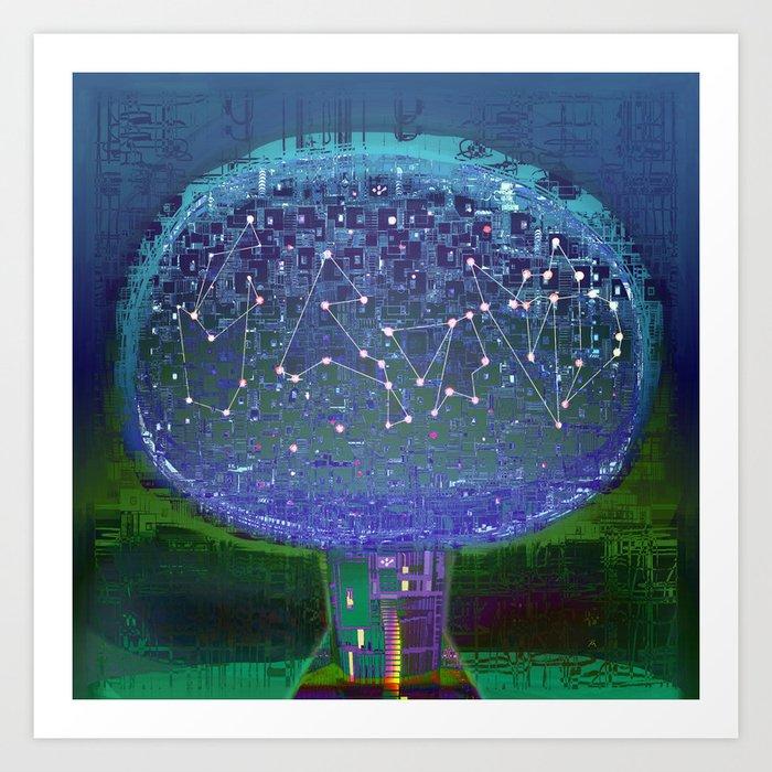 Stellar Tree Town Art Print