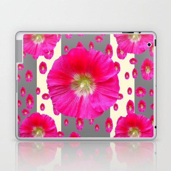 PINK-CERISE HOLLYHOCK FLOWERS  CREAM & GREY GARDEN Laptop & iPad Skin