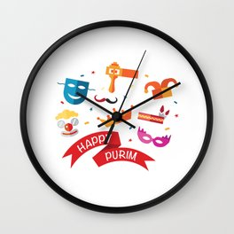 Happy National Purim Day Wall Clock