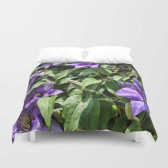 Clematis Flowers and Vines Duvet Cover