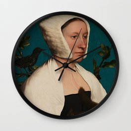 PORTRAIT OF A LADY WITH A SQUIRREL AND A STARLING - HANS HOLBEIN Wall Clock