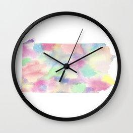 Watercolor State Map - Pennsylvania PA colorful Wall Clock