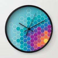 honeycomb Wall Clocks featuring Honeycomb by AleyshaKate