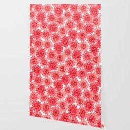 Coral Floral Wallpaper
