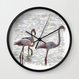 Three Flamingos Watercolor Wall Clock