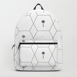Hexagon Palms - Black and White Backpack