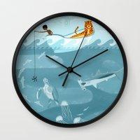 fishing Wall Clocks featuring Fishing by Erik Krenz