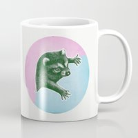 climbing Mugs featuring Climbing Raccoon by KokDamon Lam