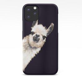 Sneaky Llama in Black iPhone Case