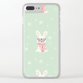 White rabbit Christmas pattern 001 Clear iPhone Case