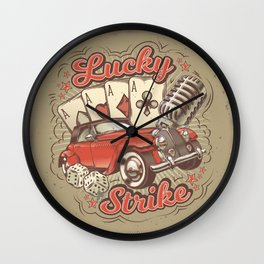 Vector grunge vintage illustration, poster with four card aces, retro car and old microphone Wall Clock