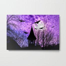 Bats in a full moon night Metal Print