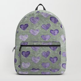 Purple Hearts On Grungy Grey Backpack