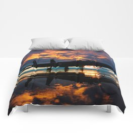 Fighter Jet Airplane at Sunset Military Gifts Comforters