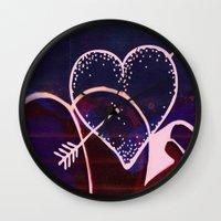 battlefield Wall Clocks featuring Love is a Battlefield... by Jennifer Trimble