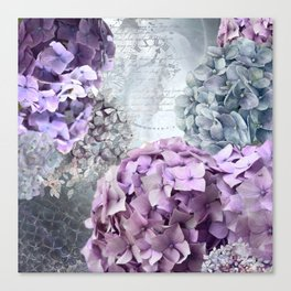 Purple Vintage Flower Hydrangea Hortensia Collage Canvas Print