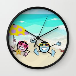 """Pops"" Emoji Beach Scene Wall Clock"