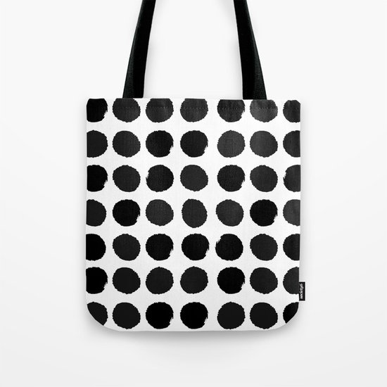 Black and white minimal paint brush painterly dots polka dots minimal modern dorm college painting Tote Bag