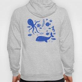 Underwater Sea Life Pattern in Cobalt Hoody