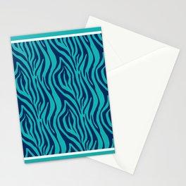 Blue and Turquoise Zebra Stripes Palm Beach Preppy Stationery Cards