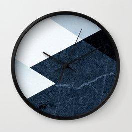 Geometrics II - blue marble & silver Wall Clock
