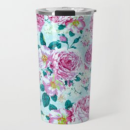 Vintage modern pink green teal watercolor floral Travel Mug