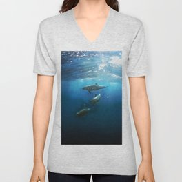 Swimming with Dolphins Unisex V-Neck