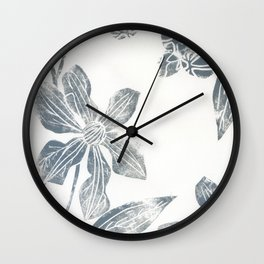 Silver clematis Wall Clock