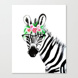 Zebra with glasses and flowers Canvas Print