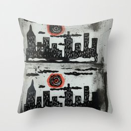Red Sun Red Moon Throw Pillow