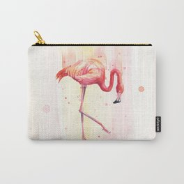 Pink Flamingo Rain | Facing Right Carry-All Pouch