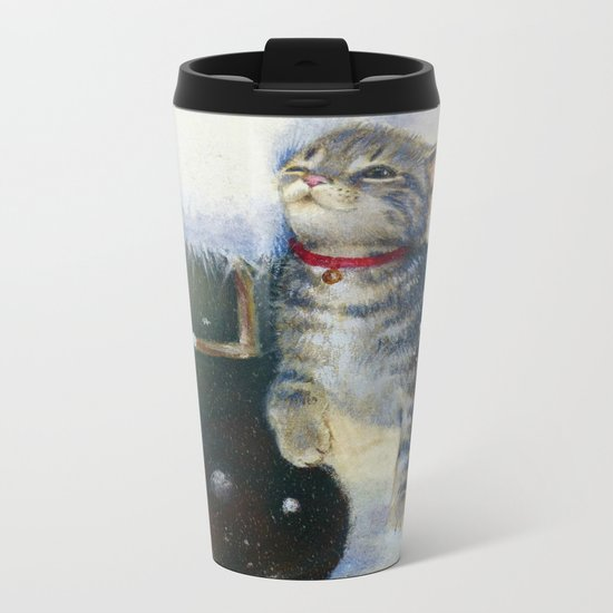 Kitten at Santa's Boot Metal Travel Mug