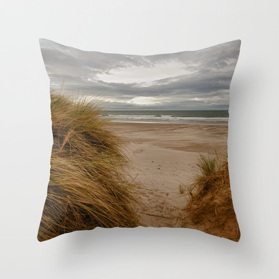 Bamburgh Beach Throw Pillow