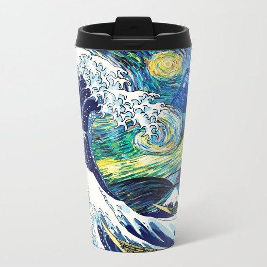 Starry Night Tardis Flying Metal Travel Mug
