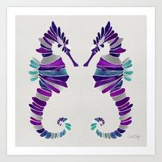 Seahorse – Purple & Silver Art Print