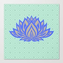 Lotus Meditation Mint Blue Throw Pillow Canvas Print