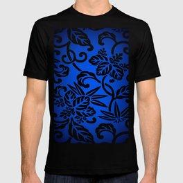 Deep Blue Japanese Flowers T-shirt