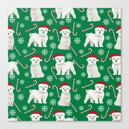 Maltese christmas festive dog breed holiday candy canes snowflakes pattern pet friendly dog art Canvas Print