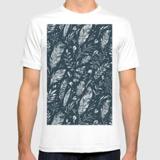Feathers And Leaves Abstract Pattern Black And White Mens Fitted Tee White MEDIUM