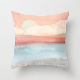 Mint Moon Beach Throw Pillow