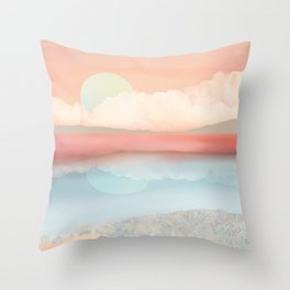 Mint Moon Beach Throw Pillow