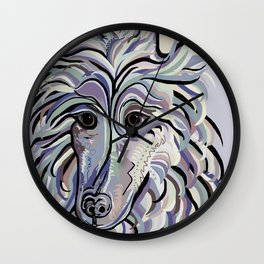 Collie in Denim Colors Wall Clock